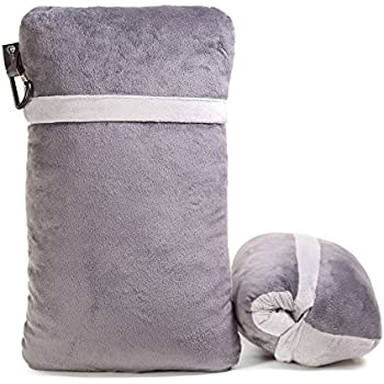 Compact Travel Pillow Made with Shredded Memory Foam and Super Soft Fleece Fabric for Ultimate Comfort in Travel. Patented Design Rolls and Compacts Small for Travel.