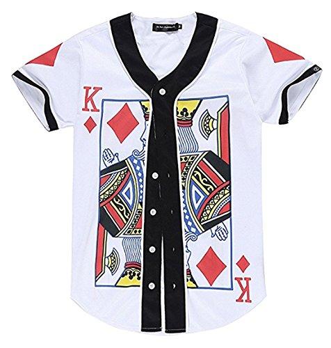 Unisex Short Sleeve Baseball Collar Button Down 3D King of Heart Print Breathable Dance Basketball Team Baseball Shirt