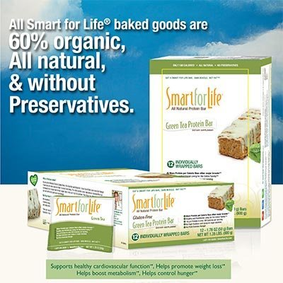 Smart For Life® Green Tea Gluten Free & All-Natural Protein Bars Six 12-count Boxes Mother's Day Gift