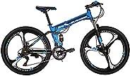 "Eurobike OBk G4 26"" Full Suspension Folding Mountain Bike 21 Speed Bicycle Men or Women MTB Foldable Frame"