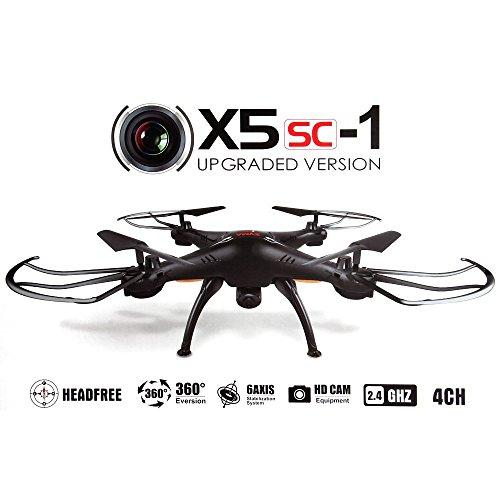Syma X5SC-1 – Drone cuadricóptero con control remoto y cámara HD, (Negro)
