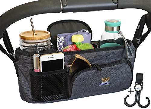 Stroller Organizer with Cup Holder, Stroller Bag Pram Caddy, Carry Handle + STROLLER HOOK! Unique collapsible design & firm top edge means it WONT SAG & LOSE SHAPE like other baby stroller accessories from Organized Empire