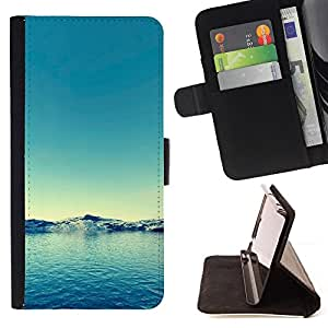 For Apple iPhone 5 / iPhone 5S,S-type Naturaleza Agua Azul- Dibujo PU billetera de cuero Funda Case Caso de la piel de la bolsa protectora