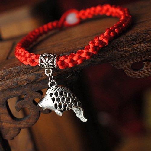(Dandingding Fashion Tibetan Fish Pendent Red Wax Rope Woven Bracelet)