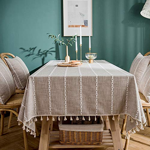 (LINENLUX Striped Cotton Linen Tablecloth/Table Cover with Tassel Light Grey Rectangle/Oblong 55 X 86)