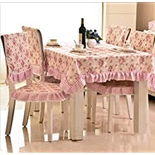 Pastorale Jacquard Fiber Table Cloth Table Mat Waterproof Oilproof Tablecloth Teapoy Cover Dining Chair Covers Set , 6 , 150*150cm