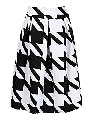 CHOiES record your inspired fashion Women's Color Block Houndstooth Print High Waist Pleated Skater Midi Skirt