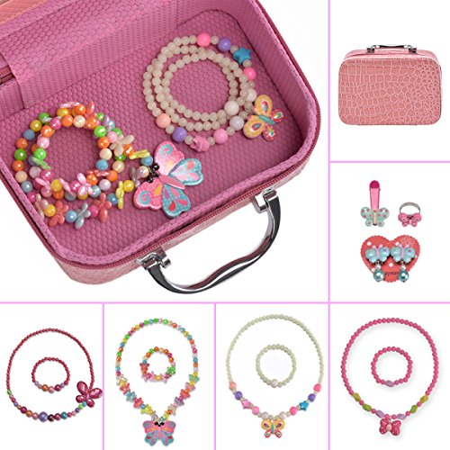 PinkSheep Lovely Girls Butterfly Jewelry Box, Butterfly-shaped Necklace and Bracelet 4 Sets+ Clip-on Earrings+ Ring+ Hair clip, Party Favors Bags For Kids