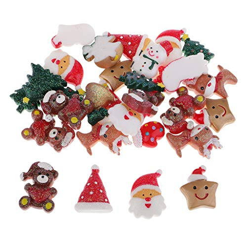 Charms Scrapbooking Card - Prettyia 10/30 Pieces Mix Christmas Resin Cabochons Flatback Slime Charms for Scrapbooking Card Making Phone Case Decoration DIY Hair Bow Center Craft Gifts - 30pcs
