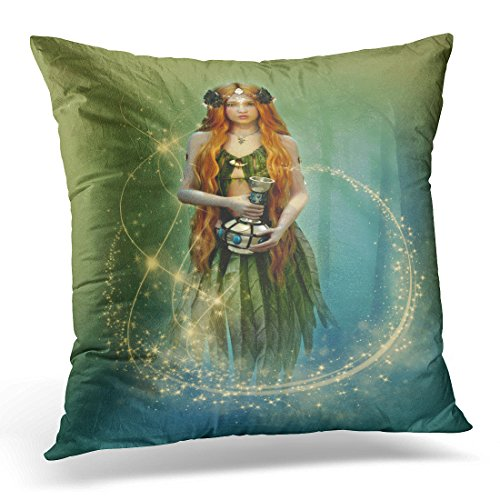 Breezat Throw Pillow Cover Red Fantasy 3D Computer Graphics of Forest Fairy with Bottle in Her Hand Silver Woman Decorative Pillow Case Home Decor Square 20x20 Inches Pillowcase -