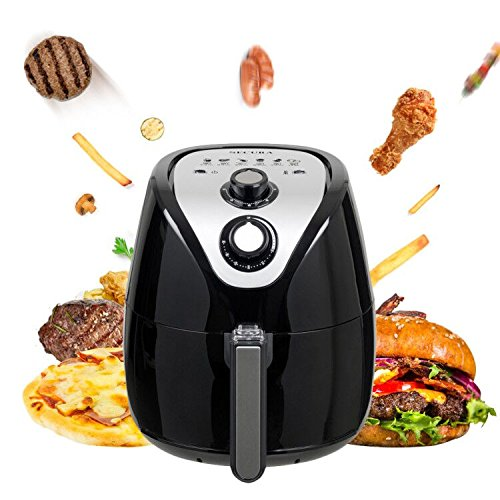 Secura Air Fryer 1500W Electric Hot Air Fryers Large 3.4Qt / 3.2L XL Air Fryer Oven Oil Free Cooker with Additional Accessories, Recipes, BBQ Rack & Skewers for Frying, Roasting, Grilling, Baking