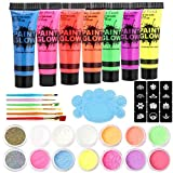 UV Face Neon Fluorescent Blacklight Paint Kit (7 Tubes 0.34oz Each), 12 Colors Glow In The Dark Pigment Powder with All Accessories Included