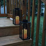 Outdoor Black Solar Candle Lanterns, 11' Height, Warm White LEDs, Dusk to Dawn Technology, Batteries Included - Set of 2