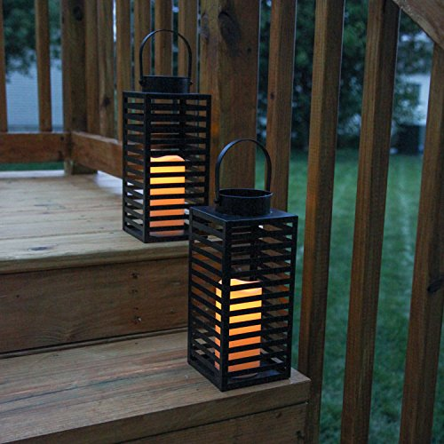 Flameless Black Candle Lanterns with Warm White LEDs, Metal Slat Design, Timer Option and Batteries Included - Set of 2