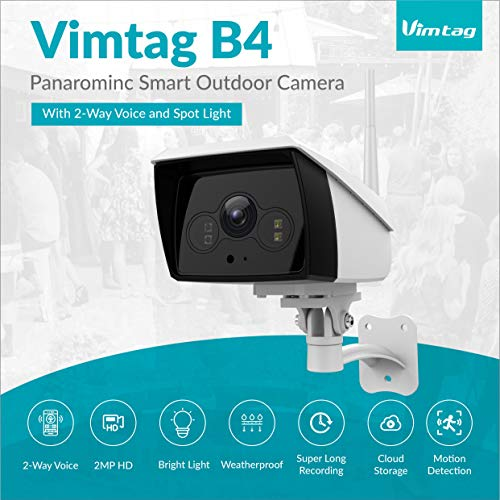 2 Mp Camera Bluetooth - Vimtag IP White Light Security Camera | 2MP HD Outdoor Waterproof Surveillance Camera with Night Vision Spotlight + 2-Way Real Time Audio | Stream On Phone & Tablet & Computers, Compatible with Alexa