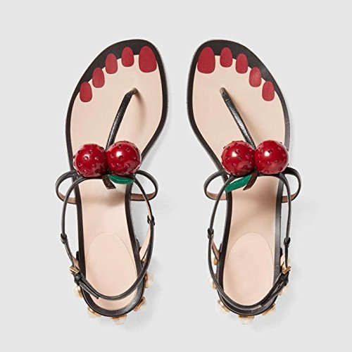 Ornament Women's Flip Flops Cherry CHNHIRA Black Sandals Leather Flat Shoes Pearl BzqUwTxp