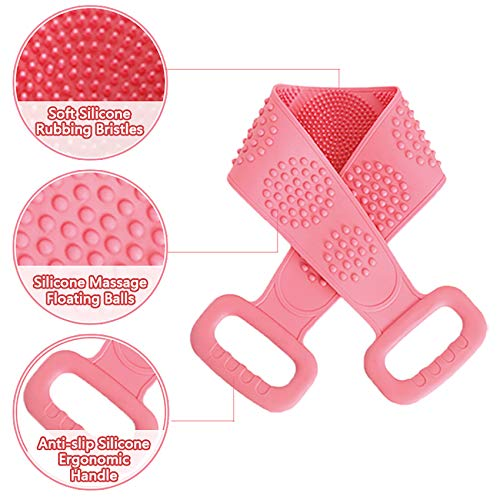 Silicone Back Scrubber, cshare Back Scrubber for Men Women Exfoliating, Comfortable Massage Silicone Bath Scrubber for Shower, Eco Friendly Hygienic Skin Health Washer (Pink)