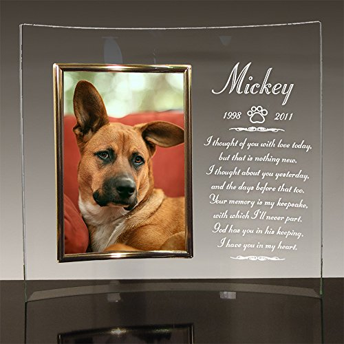 """Personalized 10"""" X 12"""" Dog Memorial Engraved Glass Picture Frame with Choice of Poems (Poem ()"""