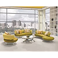 US Pride Furniture Adelina 4 Piece Modern Top Grain Leather Sofa Set, Lemon Green/Yellow