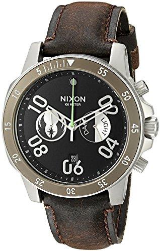 Nixon Men's 'Ranger Chrono Leather SW, Jedi Black / Brown' (Chrono Leather)