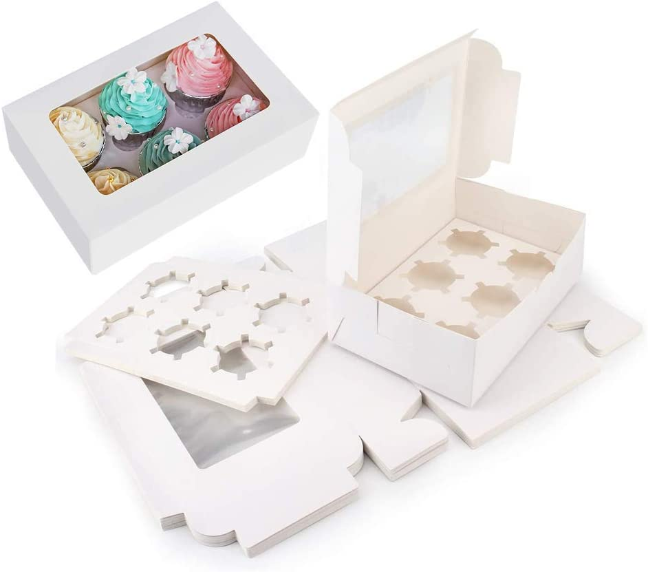 Cupcake boxes6 Holders, Large White Standard Bakery Boxes with Window Food Grade Cake Carrier Container for Muffins,Gift Treat Box Bulk,Pack of 15 with Inserts and PVC Windows,Kraft Cupcake Boxes,
