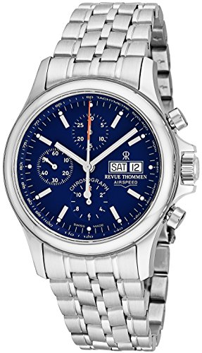 Revue Thommen Airspeed Heritage Mens Automatic Chronograph Watch - 42mm Blue Face Day Date Sapphire Crystal Stainless Steel Band Automatic Watch For Men Swiss Made 17081.6135