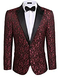 COOFANDY Men's Floral Party Dress Suit Dinner Jacket Wedding Blazer Prom Tuxedo