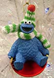 "3.5"" Sesame Street Cookie Monster on Sled Christmas Ornament"
