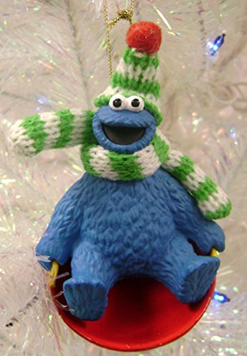Cookie Monster Sledding Christmas Ornament