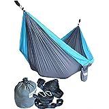 Cutequeen Grey/Sky Blue Hammock with Tree Straps Garden Outdoor Camping Hammocks Nylon Lightweight Multifunctional Parachute for Park,Backyard,Traveling,Backpacking,Yard,Beach