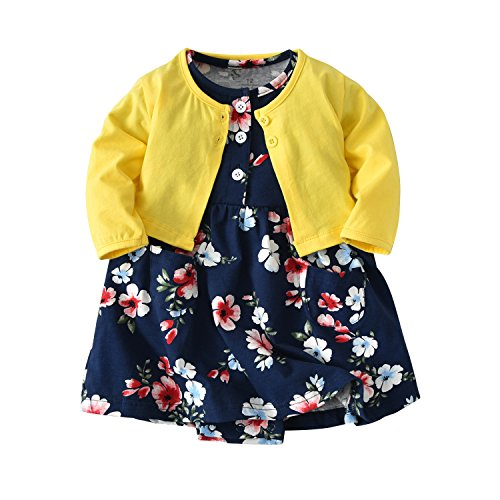 (Baby Girl's Long Sleeve Jacket Short Sleeve Romper Dress Skirt Casual Toddler Baby 2Pcs Girl Clothes Set Outfit (Yellow+Blue Flower, 12-18 Months/85))