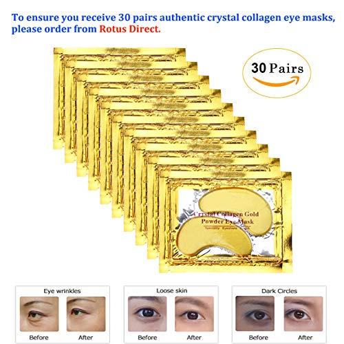 - Rotus 30 Pairs Gold Eye Mask Power Crystal Gel Collagen Masks, Great For Anti Aging, Dark Circles & Puffiness
