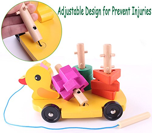 Pull Along Toy,Wooden Duck Toy with Educational Peg Puzzle for Toddlers' Shape & Color Sorting by Hero Selected (Image #2)