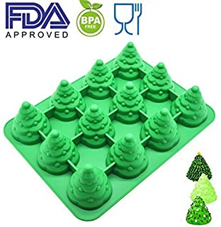 PalkSky JUMBO SIZE 3D Silicone 12 Cavity Tree Mold & Christmas Tree mold Make xmas tree