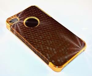 """""""Firma"""" Marrón, Cubierta duro para iPhone 4. Estuche / Carcasa / Funda, De tacto suave Cubierta de plástico duro para iPhone 4."""