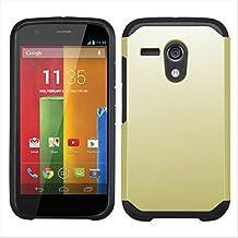 Motorola Moto G XT1032 Case , Moto G XT1032 Armor Cover, Kuteck High Impact Heavy Duty Combo Hard Protector Cover Case for Motorola Moto G (1st Generation Only), Bonus 1x Stylus Pen (Gold)