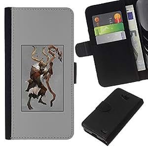 KLONGSHOP // Tirón de la caja Cartera de cuero con ranuras para tarjetas - los cuernos del diablo del demonio del cartel de Halloween - LG OPTIMUS L90 //