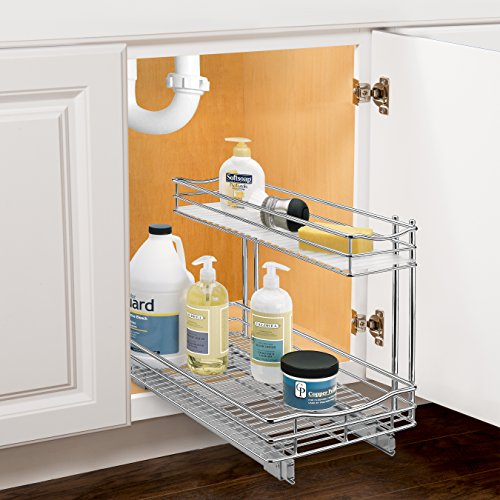 Lynk Professional Sink Cabinet Organizer with Pull Out Two Tier Sliding Shelf, 11.5w x 21d x 14h-Inch, Chrome - smallkitchenideas.us