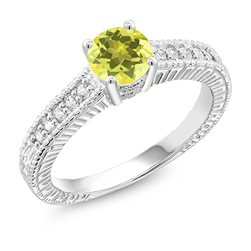 1.15 Ct Round Canary Mystic Topaz 925 Sterling Silver Ring (Size - Ca Engagement Rings
