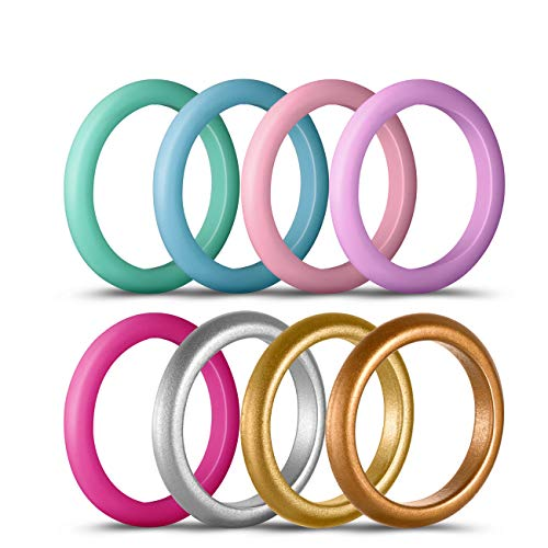 Coomammy Silicone Wedding Rings for women, Thin and Stackable Flexible and Comfortable silicone rings-8 Pack,Enjoy your life-the best gift choice, size 8 (18.1mm) ()