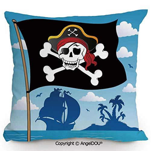 on Linen Cushion 23.6x23.6 Inch Danger Sign Beware of Pirates Skull with Hat Cross Bones Flag Deserted Island Decorative Sofa Bed Head Waist Pillow Back car Waist p ()
