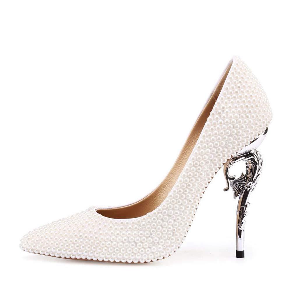 Women's Pearl Encrusted Silver Seashell Motif High-Heel Pumps - DeluxeAdultCostumes.com