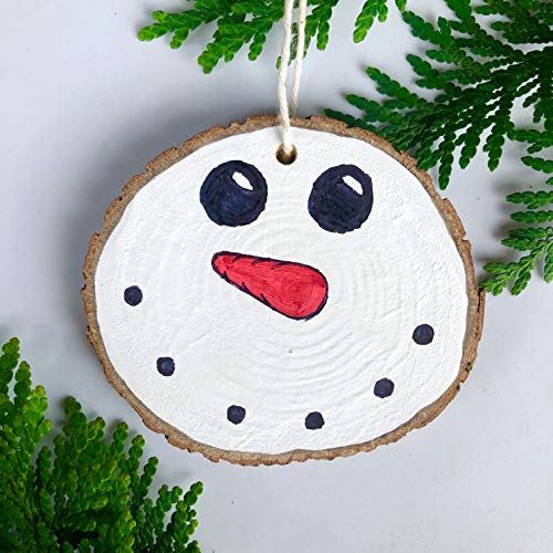 Handmade Snowman Ornament Wood Burn/Painted - by Pioneer Trails Tree Farm