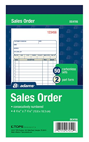 Adams Sales Order Book, 2-Part, Carbonless, White/Canary, 4-3/16 x 7-3/16 Inches, 50 Sets per Book (DC4705) Two Receipt