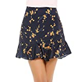 Chigant Women's Vintage A-line Printed Pleated Flared Mini Skirt