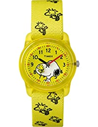 Timex Kid's Casual x Peanuts – Snoopy & Woodstock TW2R415002Y Yellow Dial and Yellow Elastic Fabric Band Watch