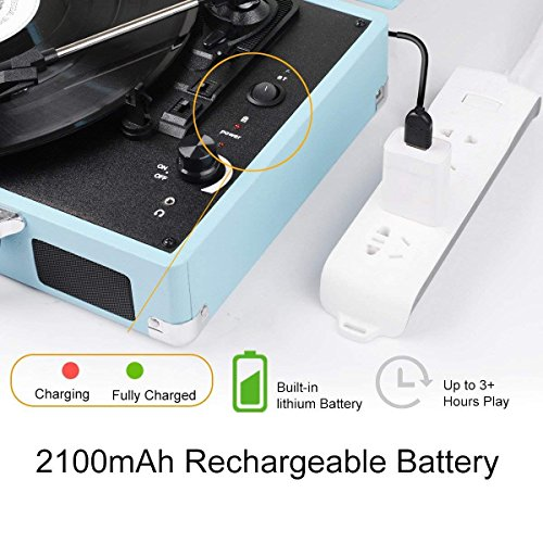 Vinyl Record Player JORLAI Turntable, 3 Speed Bluetooth Record Player  Suitcase with Built in Speakers/ Rechargable Battery/ Vinyl-to-MP3  Recording/