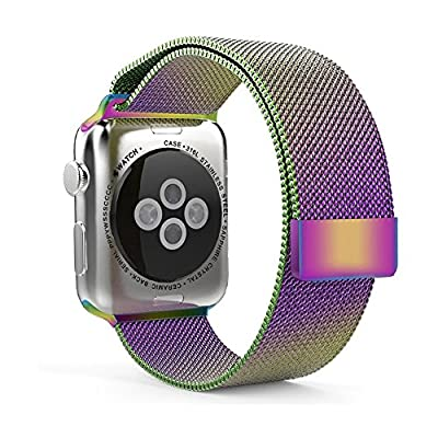 AnBell Watch Band for Apple Watch,Stainless Steel Magnetic Closure Clasp Milanese Milanese Loop Mesh Band for Apple Watch Sport Rainbow 38mm