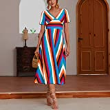 Ximandi Women's Bohemian Rainbow Print V Neck Short Sleeve Casual Puffy Loose Sundress Party Maxi Dresses