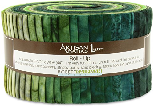 Kaufman Bali Batik - Robert Kaufman Artisan Batiks Prisma Dyes Rainforest Green Jelly Roll Up, 40 2.5x44-inch Cotton Fabric Strips